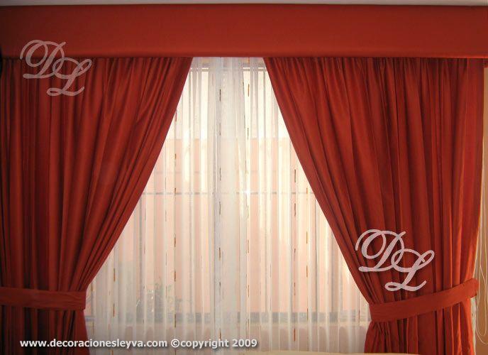 cortina de tul lino esparcido naranja y tapasol shantung lacre con rieles y cenefa tapizada en