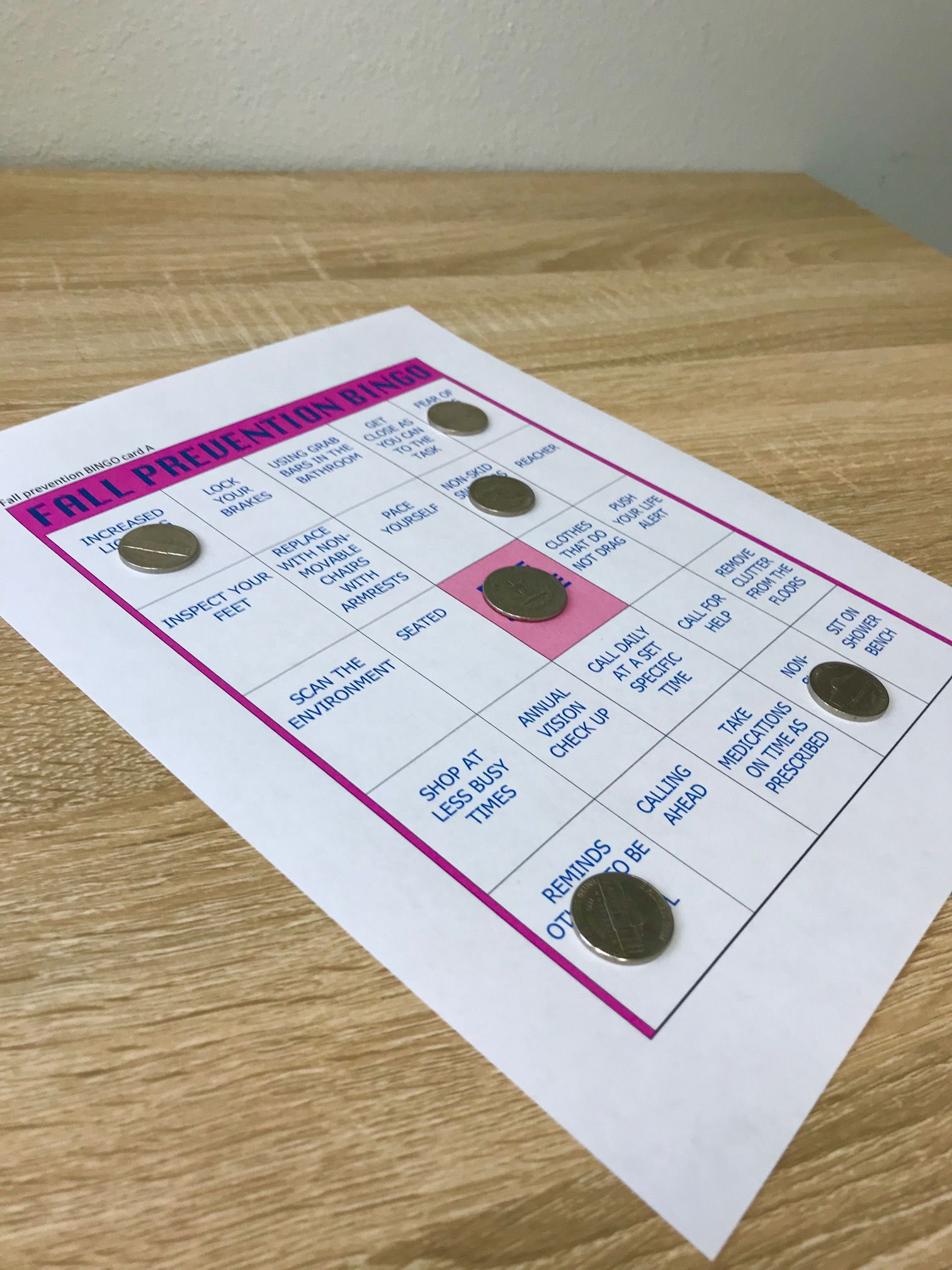 How To Make Your Own Fall Prevention Bingo Game