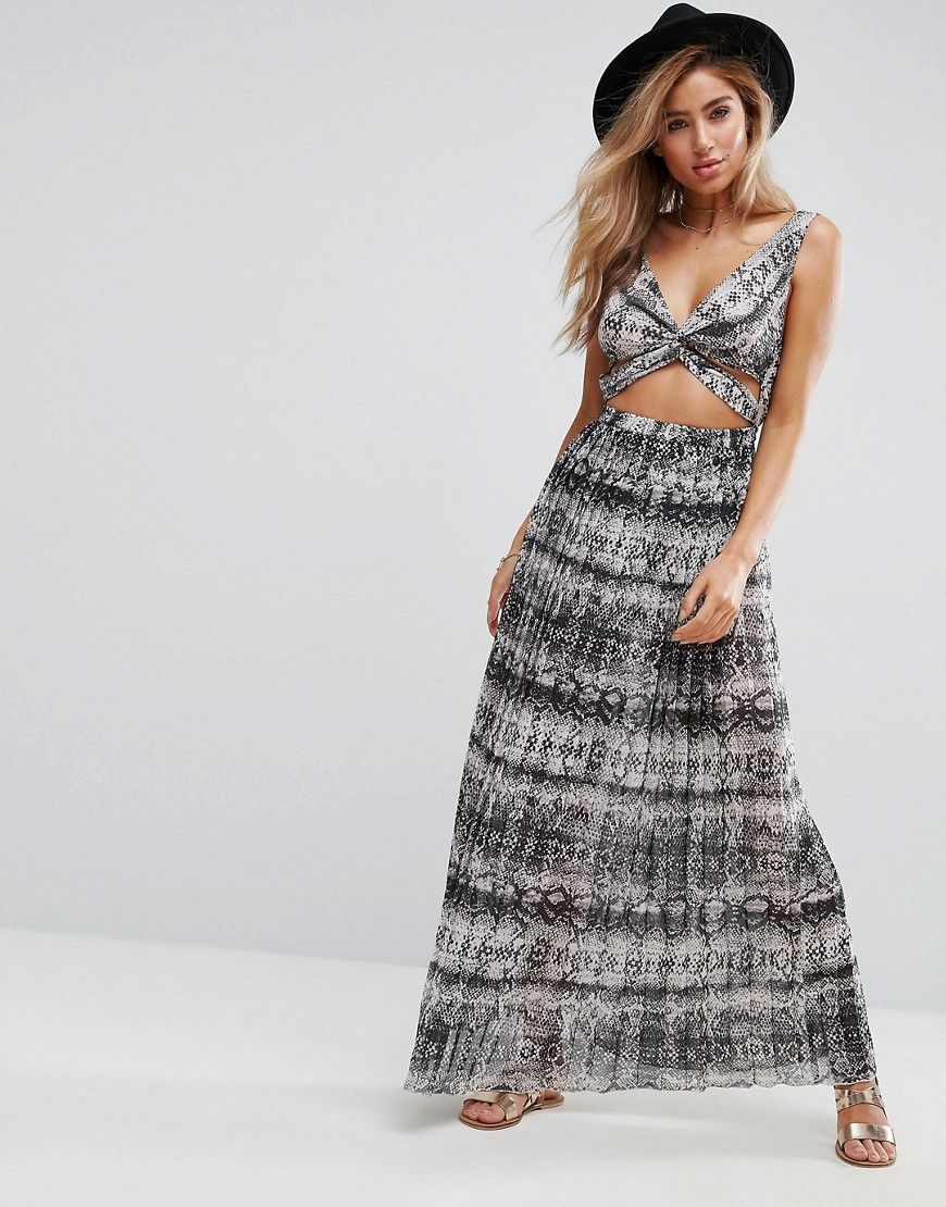 0014f7dbd047fc ASOS Beach Maxi Dress in Mono Snake With Pleat Skirt - Multi ...