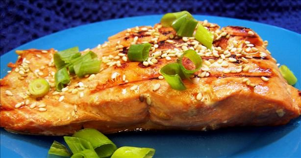 Sesame Salmon from Food.com:   Simple and delicious salmon with an asian flair.  Works on the grill, too.  Prep time is marinating time.