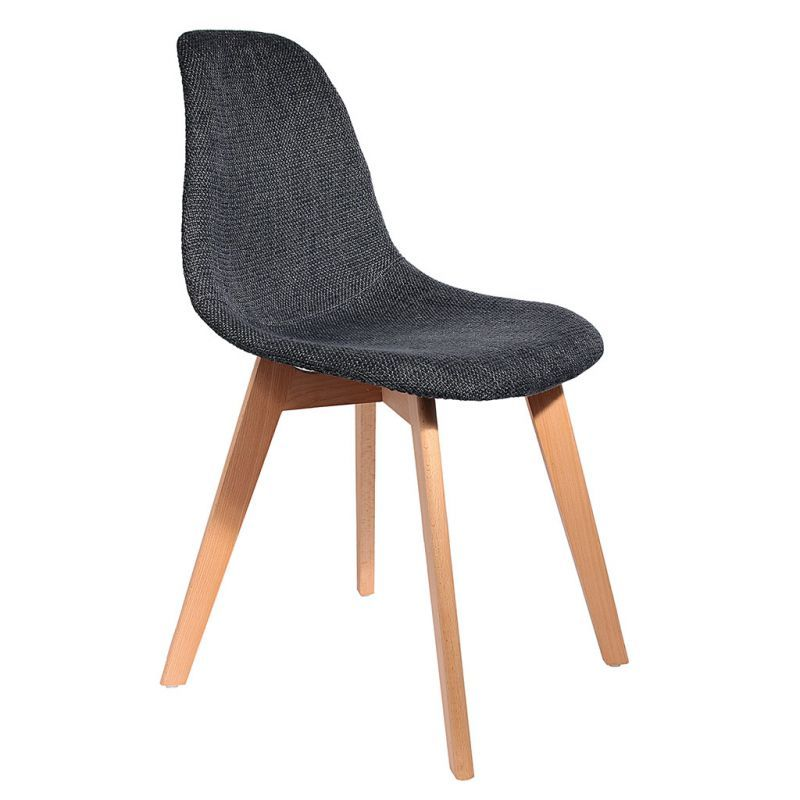 Chaise Style Scandinave Pieds Bois Grosse Maille Noire 46x85x55cm Chaise Style Scandinave Chaise Style Scandinave