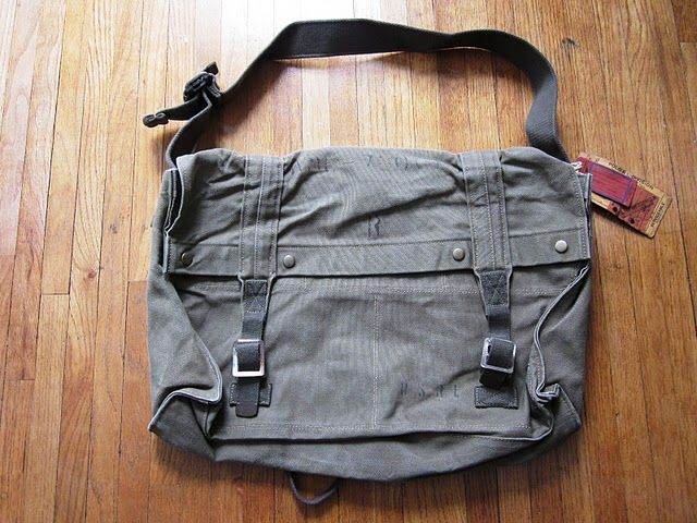 fe956a92cb Polo Ralph Lauren Heavy Green Military Canvas Utility Messenger Bag ...