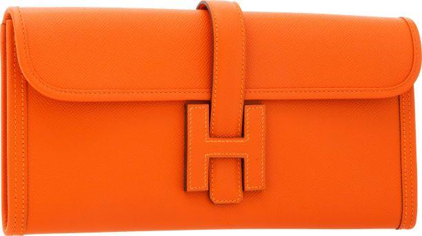 c49cce3ae0da Hermes Feu Epsom Leather Jige Elan H Clutch Bag