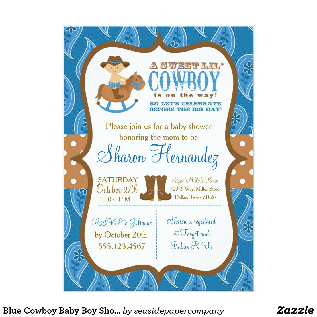 Blue Cowboy Baby Boy Shower Invitation   Cowboy baby boys, Baby boy ...