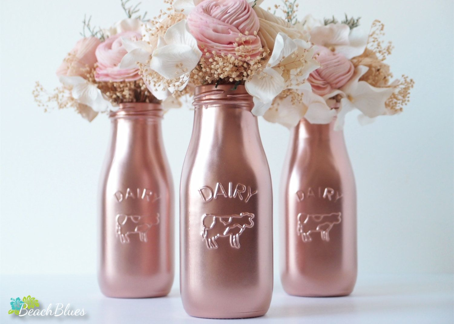 Mothers day decor copper painted milk bottles 3 baby shower copper painted milk bottles baby shower decor wedding decor home decor vase rose gold decor pink reviewsmspy