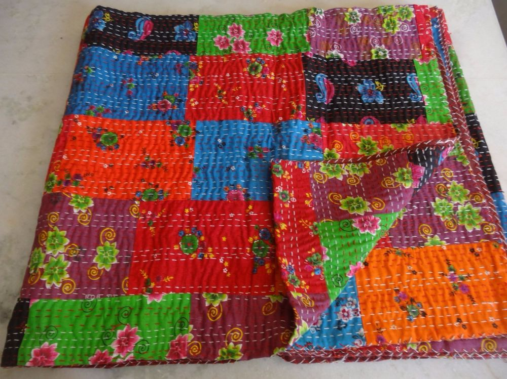 Handmade Patchwork Kantha Bedspread, Kantha Bedspread, Kantha Patchwork Quilt,  #Handmade