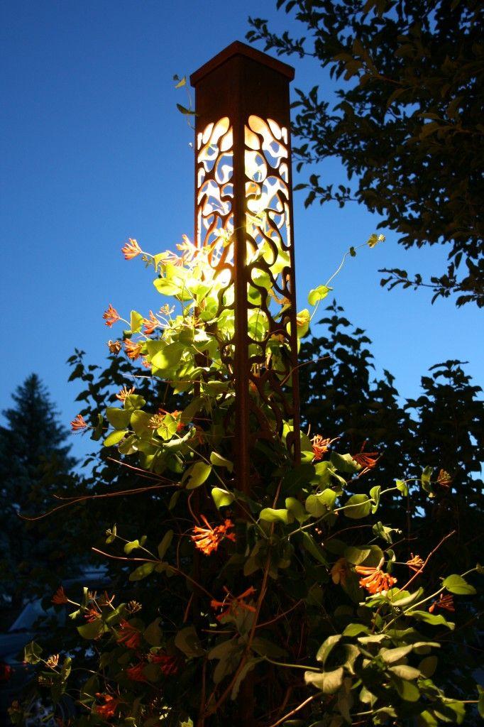 obelisk garden trellis with a light Outdoor Lighting Pinterest