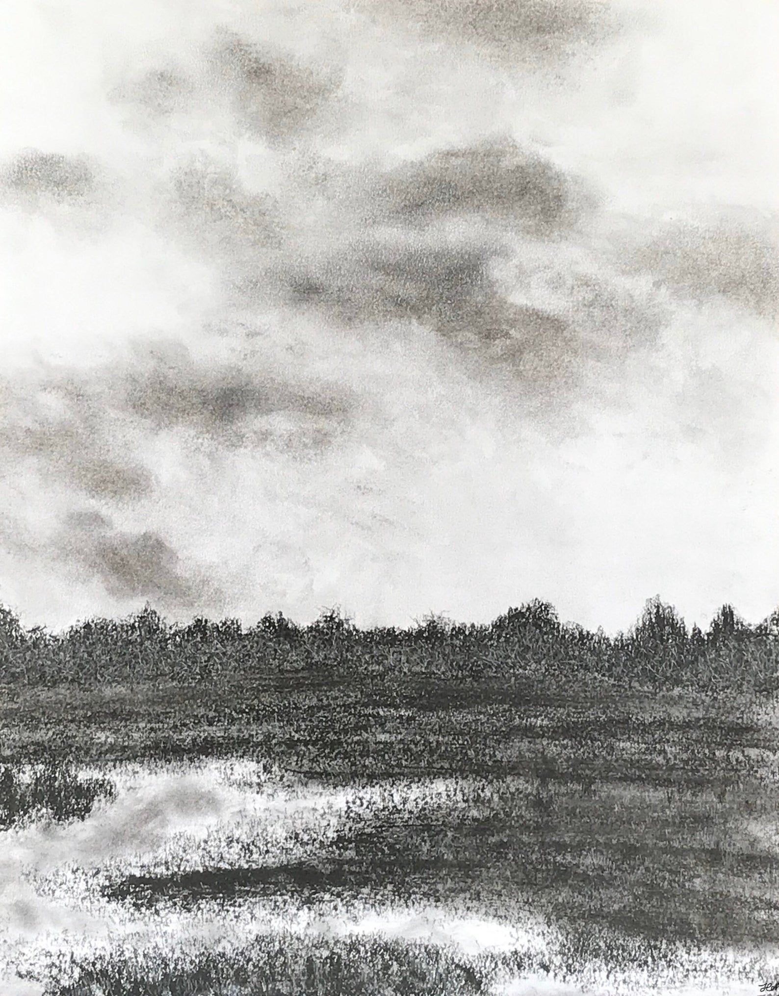 Original Charcoal Landscape Drawing- Country Field in 2020 ...