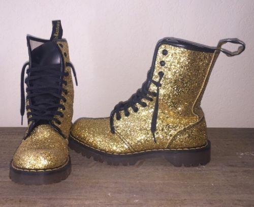 f3135b04edd340 Rare-Vintage-Doc-Dr-Martens-Boots -UK-5-US-7-Gold-Glitter-10-eye-Combat-Glam-HTF