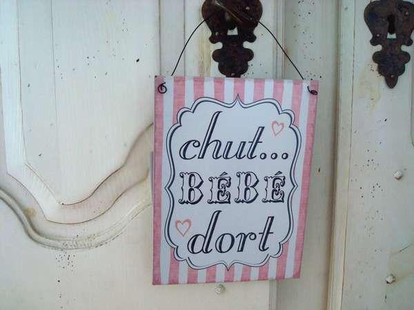 Plaque De Porte Vintage Chut Bébé Dort Frais De Port à - Plaques de porte décoratives