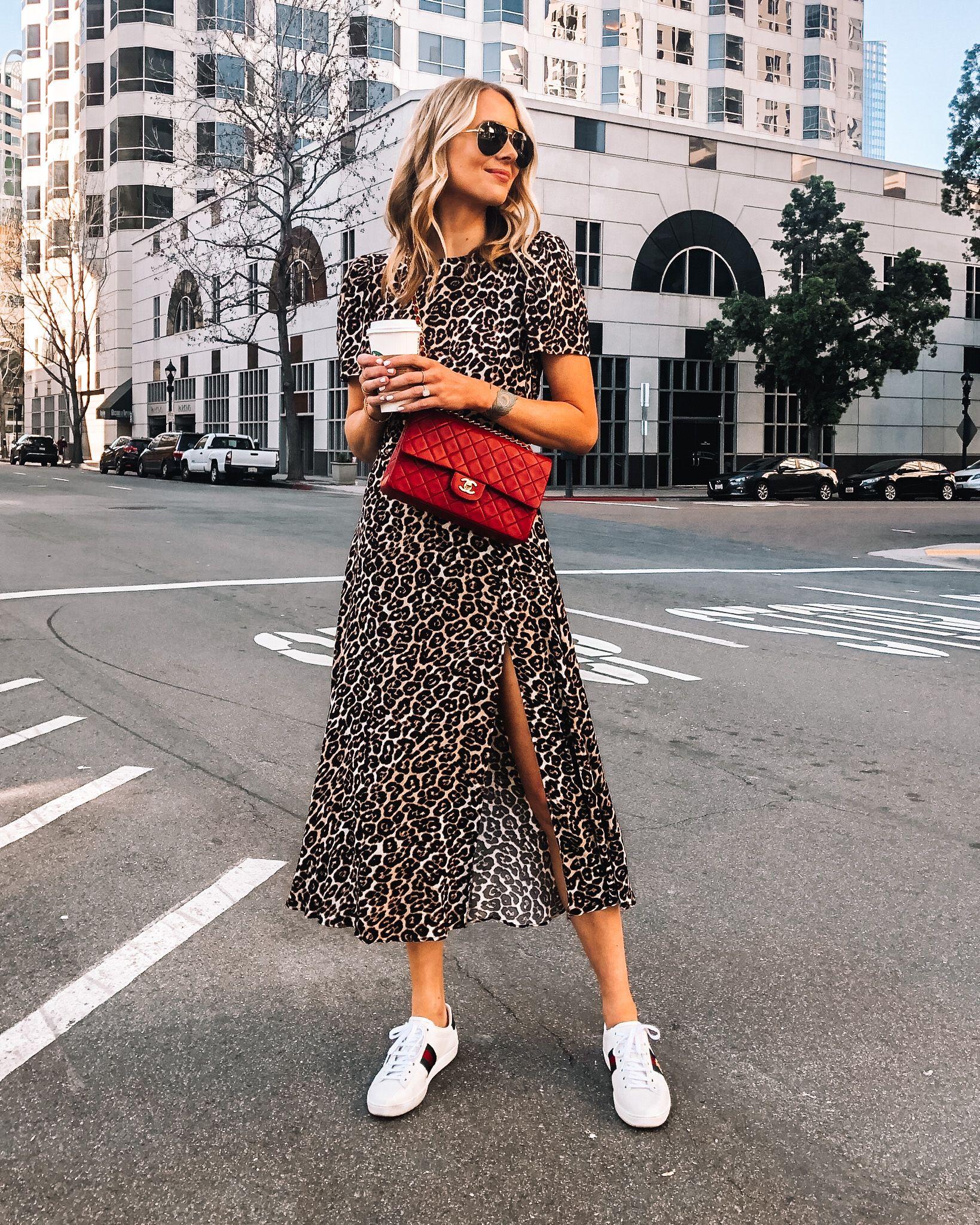 Fashion Jackson Wearing Leopard Midi Dress Red Chanel Handbag Gucci Sneakers Sneaker Outfits Women Fashion Jackson Gucci Sneakers Outfit [ 2048 x 1639 Pixel ]
