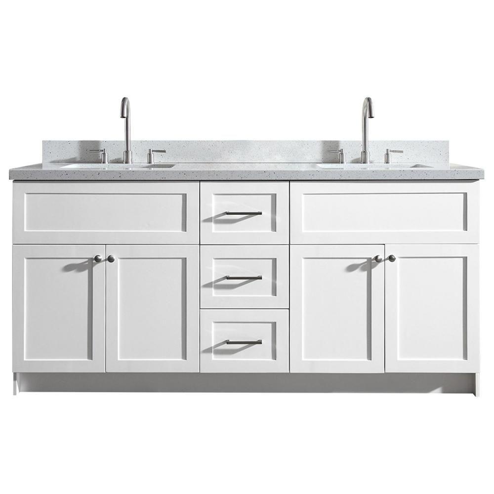 Ariel Hamlet 73 In Bath Vanity In White With Quartz Vanity Top In White With White Basins Products Bath Vanities Quartz Vanity Tops Bathroom
