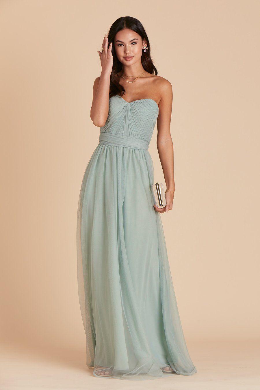 sage green tulle flower girl dress