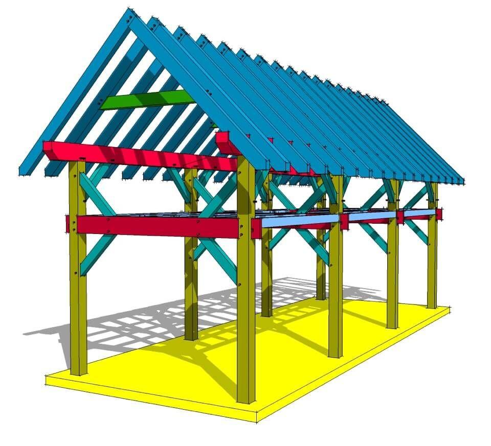 12x36 Timber Frame Plan With Loft En 2019