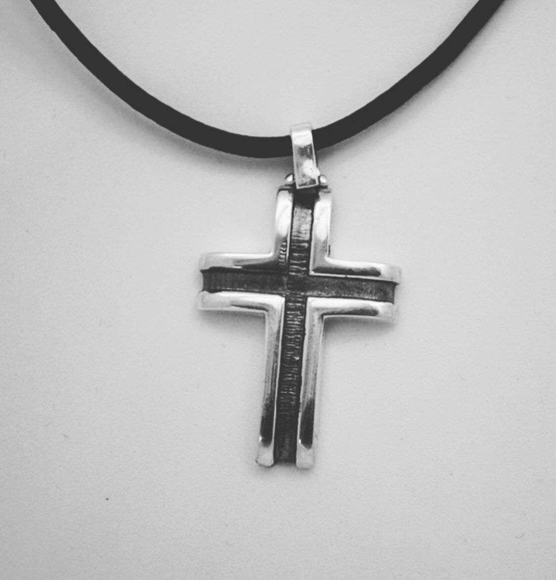 Oxidized Cross With Dove Pendant Oxidized Sterling Silver Cross Charm With a Dove In The Center HpZu14fY