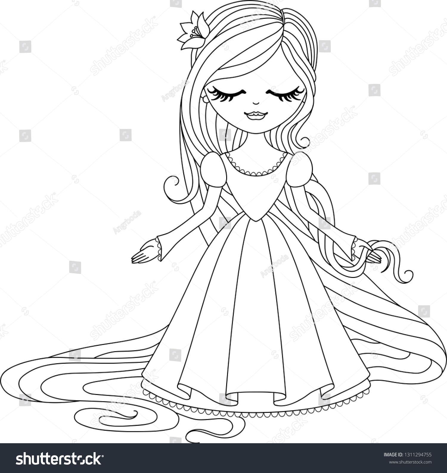 Cute Little Princess Rapunzel Black Outline On White Background Vector Illustration Ad Affiliate Rapun Princess Rapunzel Cute Princess Little Princess