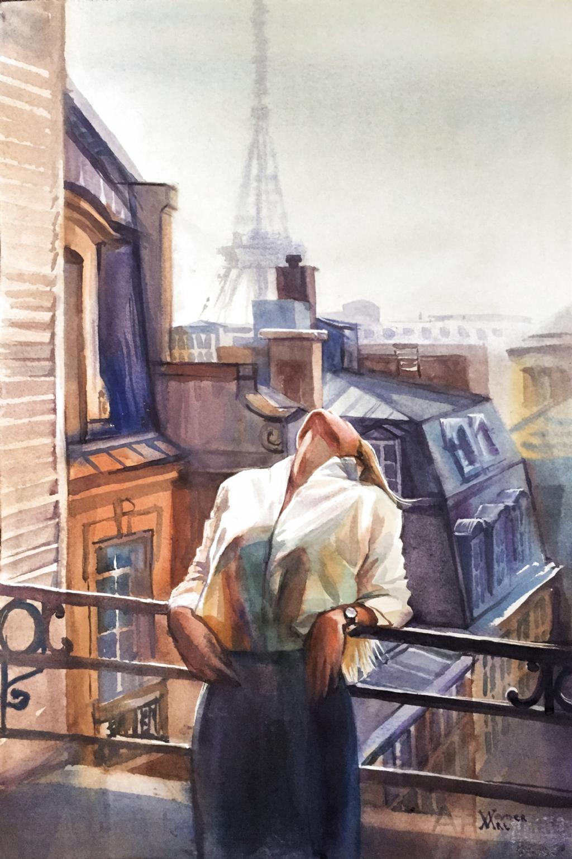 Romantic picture, Paris print, Portrait of a girl -  Art of the parisian landscape, Paris centre illustration #paris #parisart #watercolorparis  - #girl #IndianPaintings #OilPaintings #Paintings #paris #picture #portrait #print #Romantic