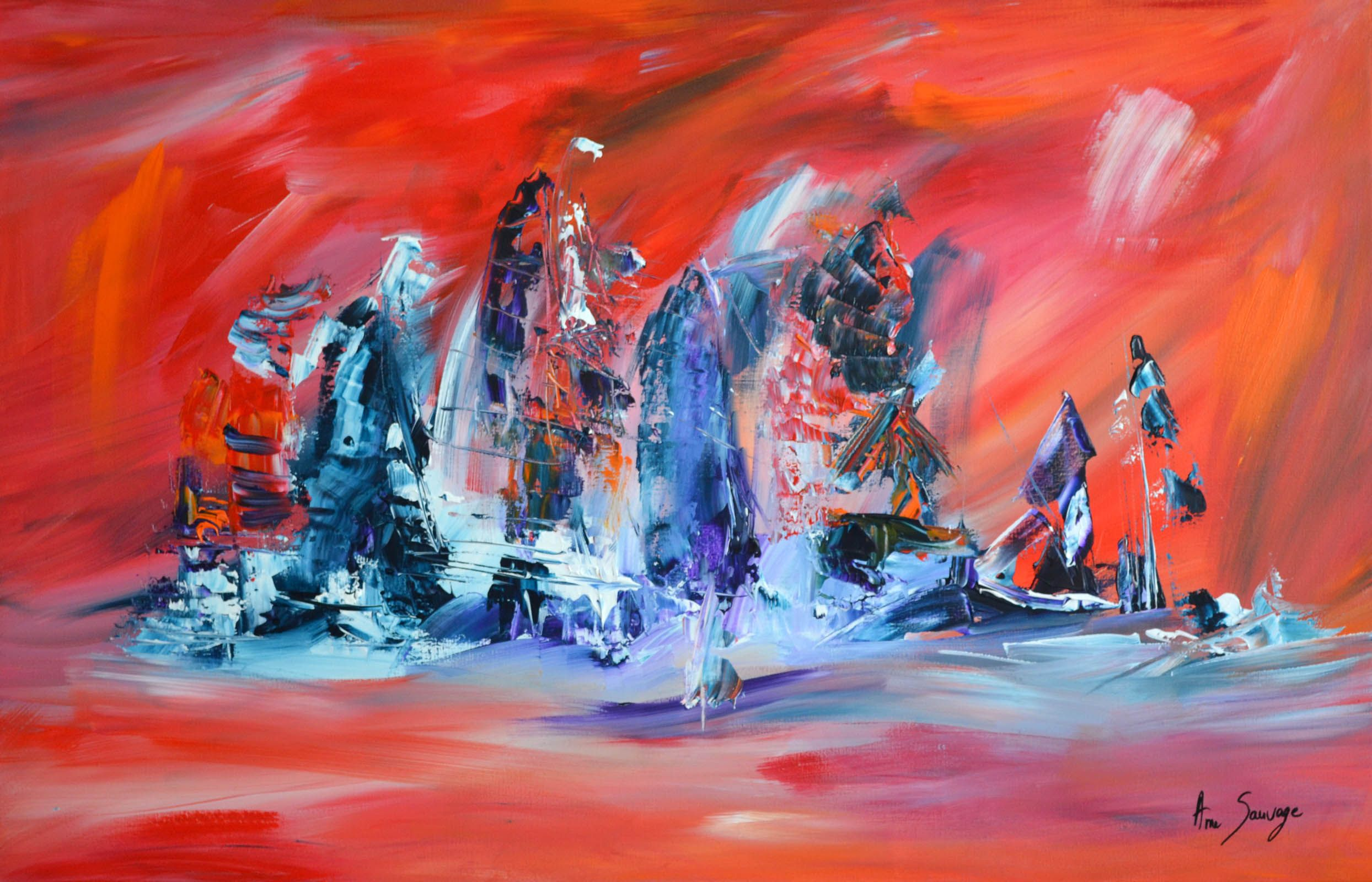 L'île oubliée, tableau d'artiste peintre unique de couleur bleu orange  rouge. Cette oeuvre de l'a… | Peinture abstraite, Peinture abstraite  moderne, Artiste peintre