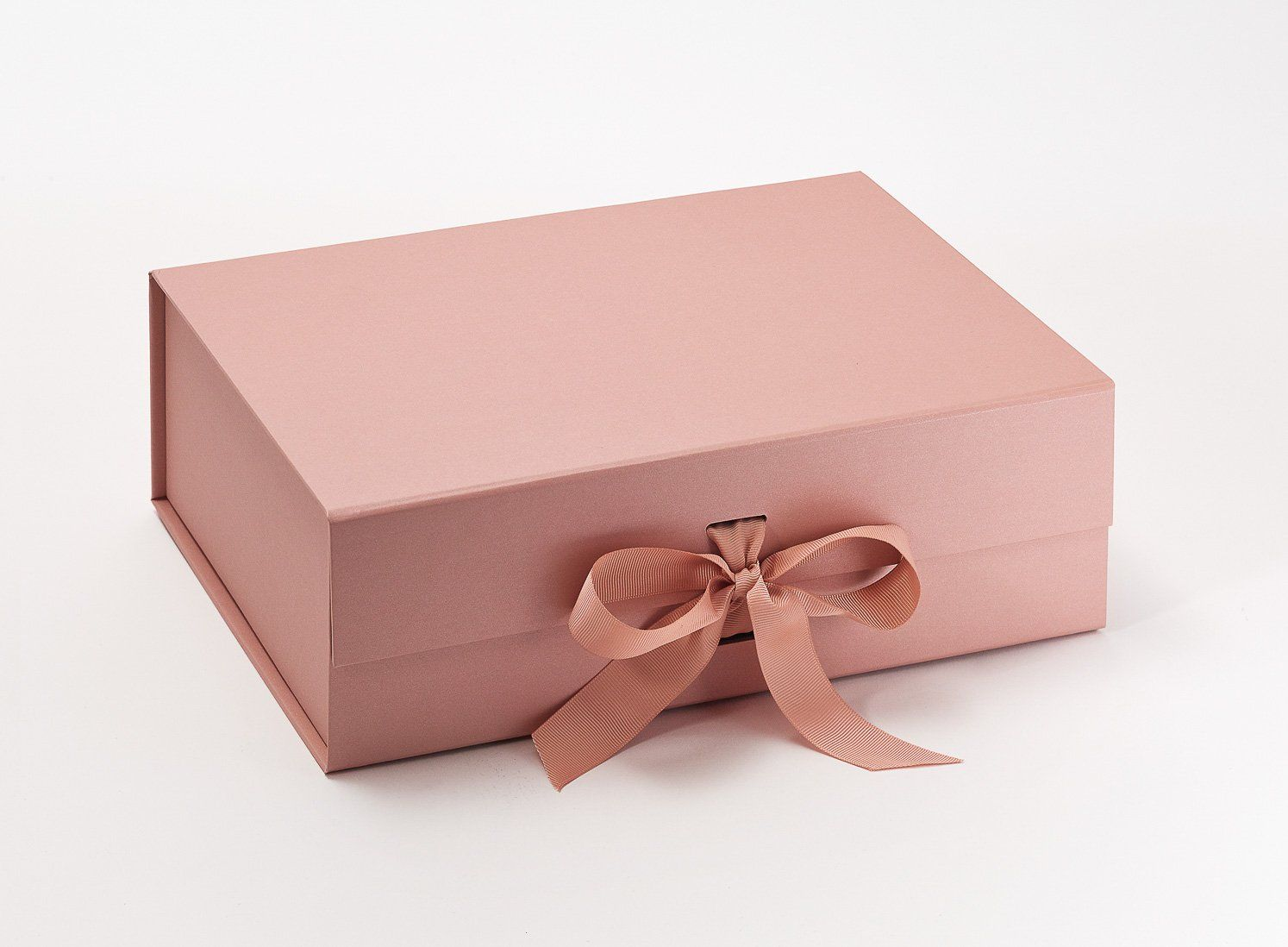 Rose Gold A4 Deep Gift Boxes with changeable ribbon Pink