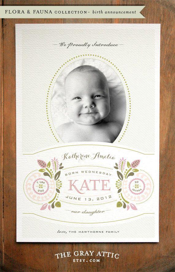 1000 images about Announcements – Vintage Birth Announcement