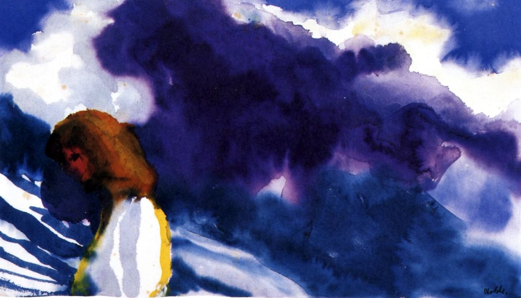 Swiss Mountains (also known as Swiss Mountains, Young Woman in Foreground) Emil Nolde - 1948