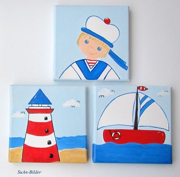 Kinderbild kleiner Matrose/Leuchtturm/Segelboot | Matrose, Segelboot ...