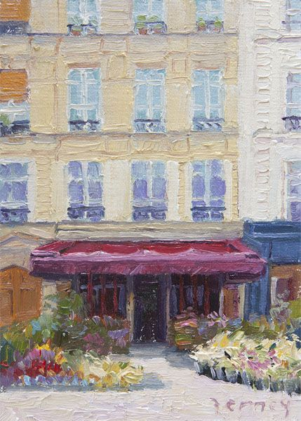 Like the use of paint texture to create the architectural detail from http://www.paulferney.com/paris.html Les Fleurs on Rue Cler, 5x7, oil on linen