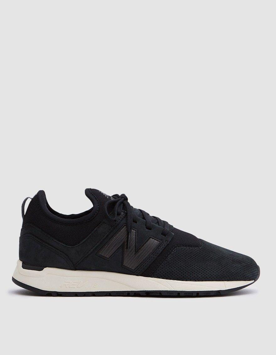 New Balance / 247 Nubuck Sneaker in Black/Sea Salt | Black sea ...