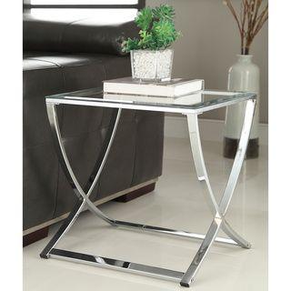 Contemporary Chrome Finish Glass Side End Table (Chrome Glass Side End Table),  Silver | Chrome Finish, Chrome And Contemporary