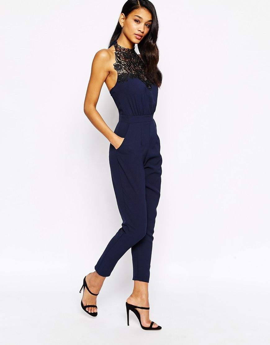 d9b5753d04 Michelle Keegan for Lipsy Lace Halterneck Jumpsuit