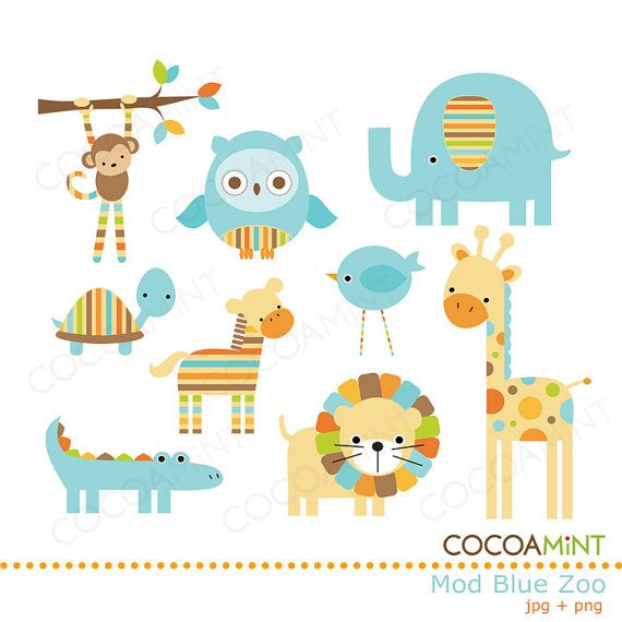 Mod Blue Zoo Clip Art by cocoamint on Etsy, $5.00