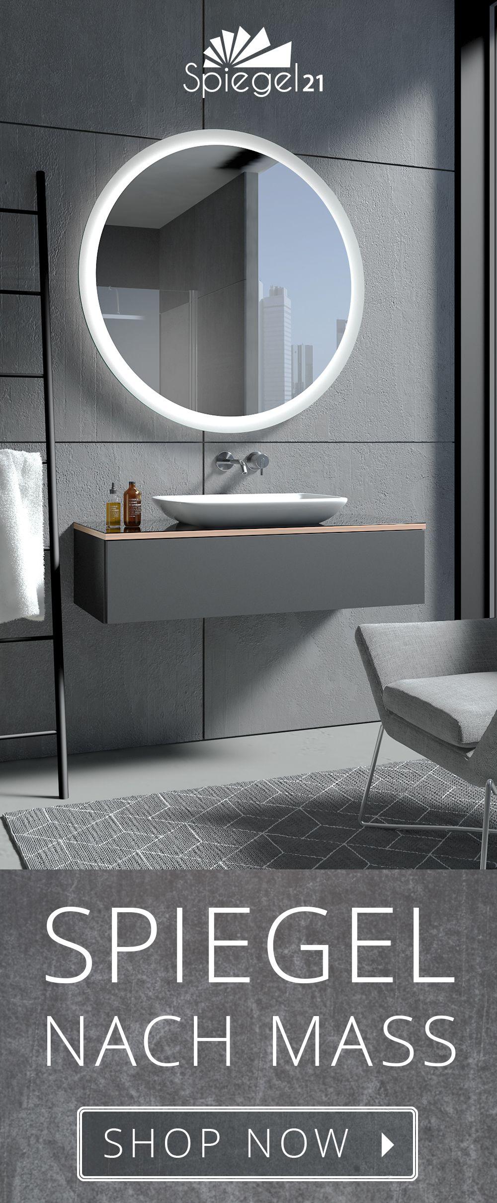 Runder Badspiegel Mit Beleuchtung Charon Badspiegel Beleuchteter Spiegel Beleuchtung