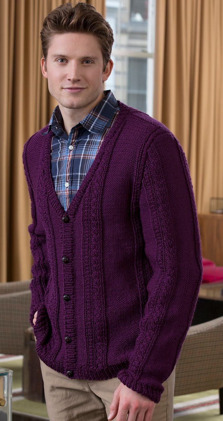 89f8b80dbd Free Knitting Pattern for Men s V-Neck Cable Cardigan -  ad Julie Farmer  designed by classic cardigan sweater for the men in your life featuring  cables and ...