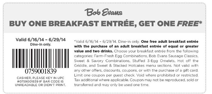 Bob Evans Coupon Bob Evans Printable Coupons Coupons