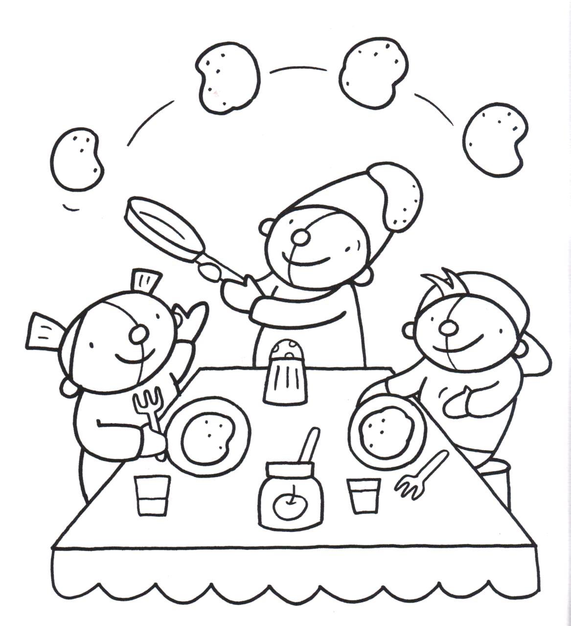 Kleurplaten Over Gezond Eten.Kleurplaat Pompom Voeding Pompom Healthy Eating Pancakes En
