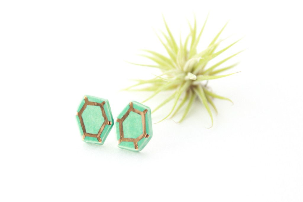 Jade Green and Gold Gem Earrings