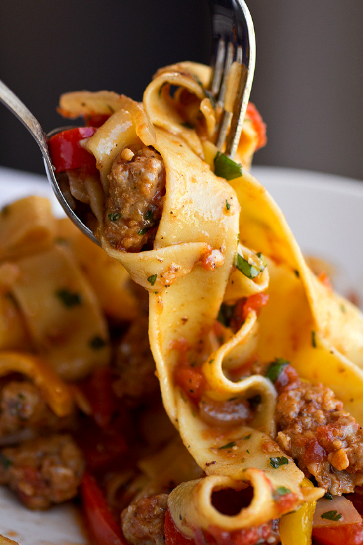 Italian Drunken Noodles with Spicy Italian Sausage images