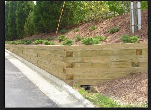 6 X 6 X 8 Treated Landscape Timber At Menards Wood Retaining Wall Landscaping Retaining Walls Building A Retaining Wall