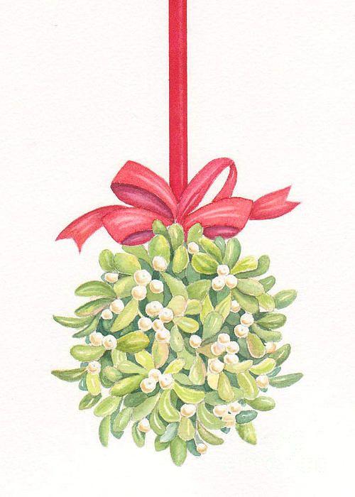 Mistletoe Christmas Doodles Watercolor Christmas Cards