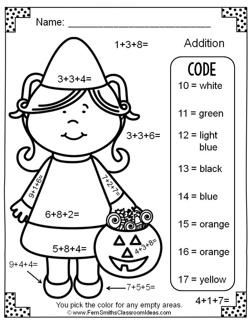 Halloween Color By Number Addition With Three Addends