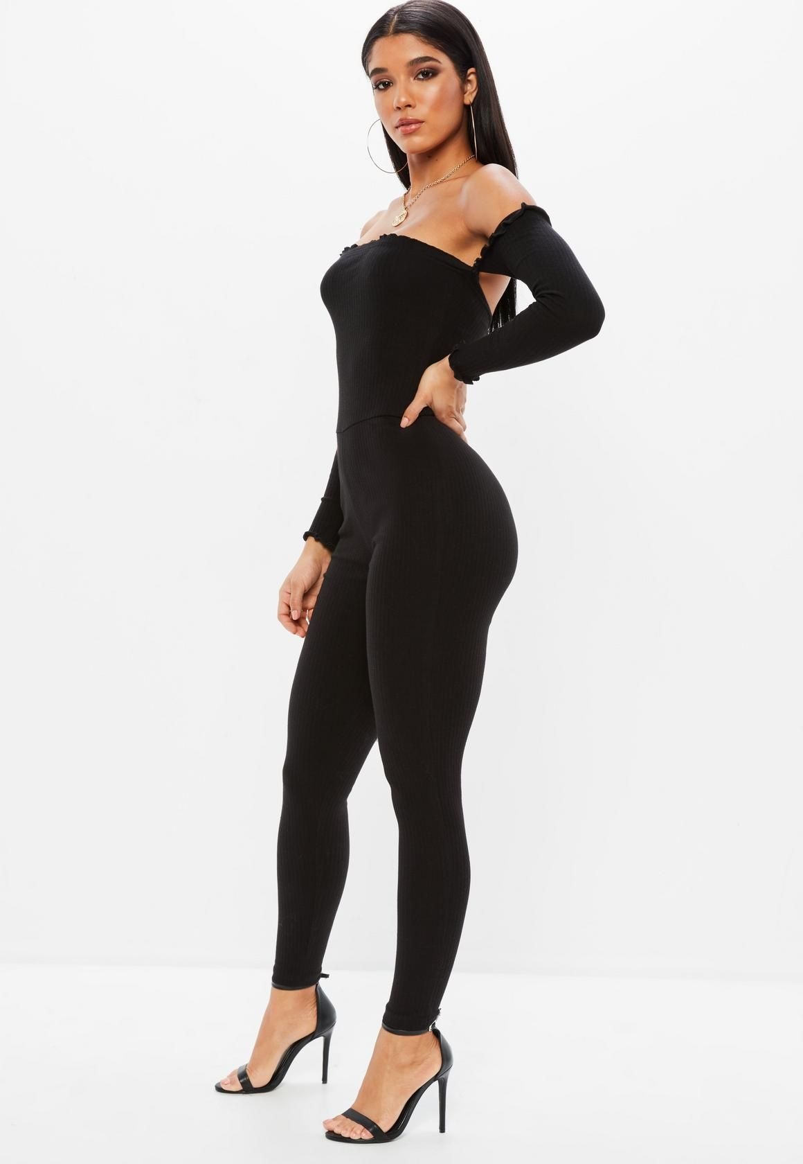 62ac7adc8169 Missguided - Black Bardot Frill Ribbed Unitard Jumpsuit