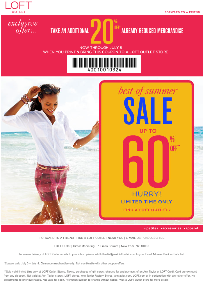 picture about Loft Coupon Printable named Ann Taylor Loft Outlet: 20% off Printable Coupon thur July 8