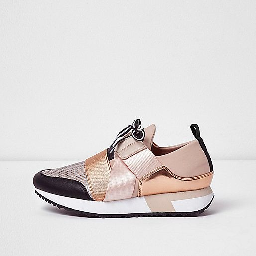 Rose gold metallic lace-up runner trainers - plimsolls / trainers - shoes /  boots