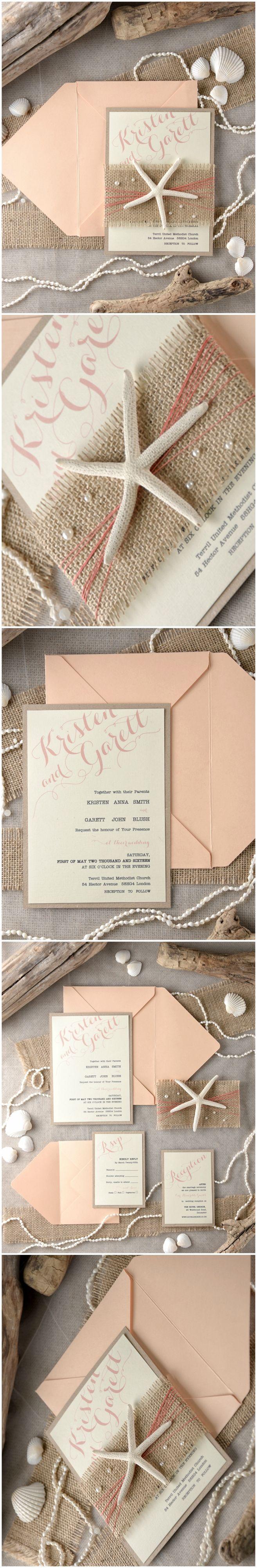 Beach Destination Wedding Invitation with real Starfish #beach #destinationwedding #starfish #peach #coral #weddingideas #weddinginvitations #romantic #rustic #eco #kraft