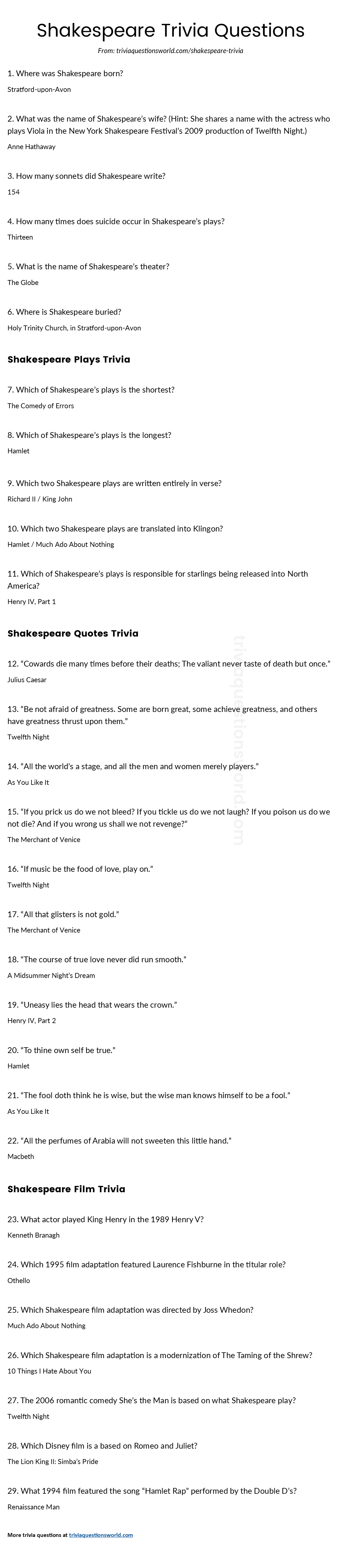 lots of great shakespeare trivia questions and answers accurate