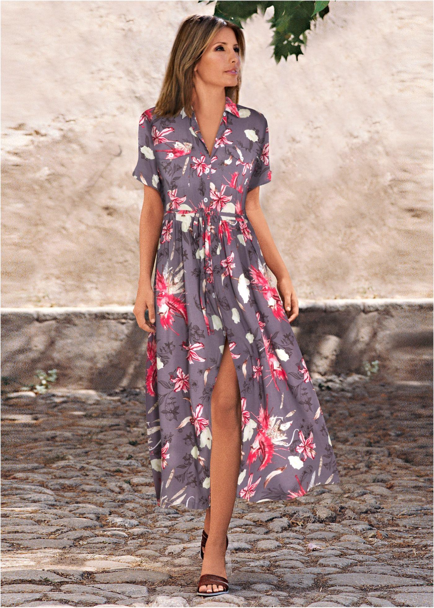 9d0e4da56 Vestido chemise longo oliva-escuro estampado encomendar agora na loja  on-line bonprix.
