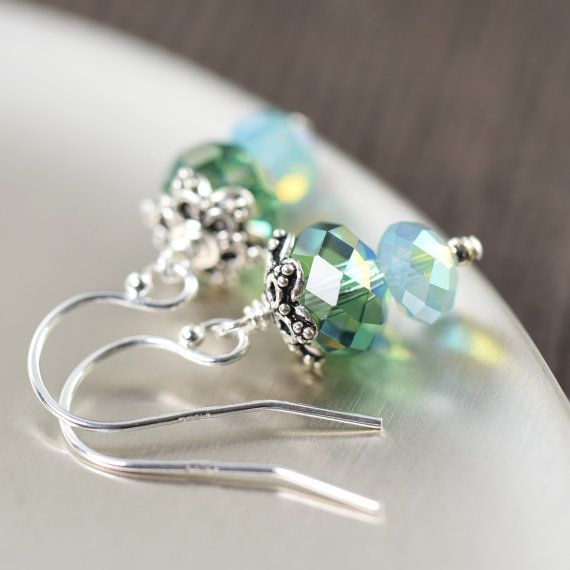 Ocean blue crystal earrings, earthy green earrings