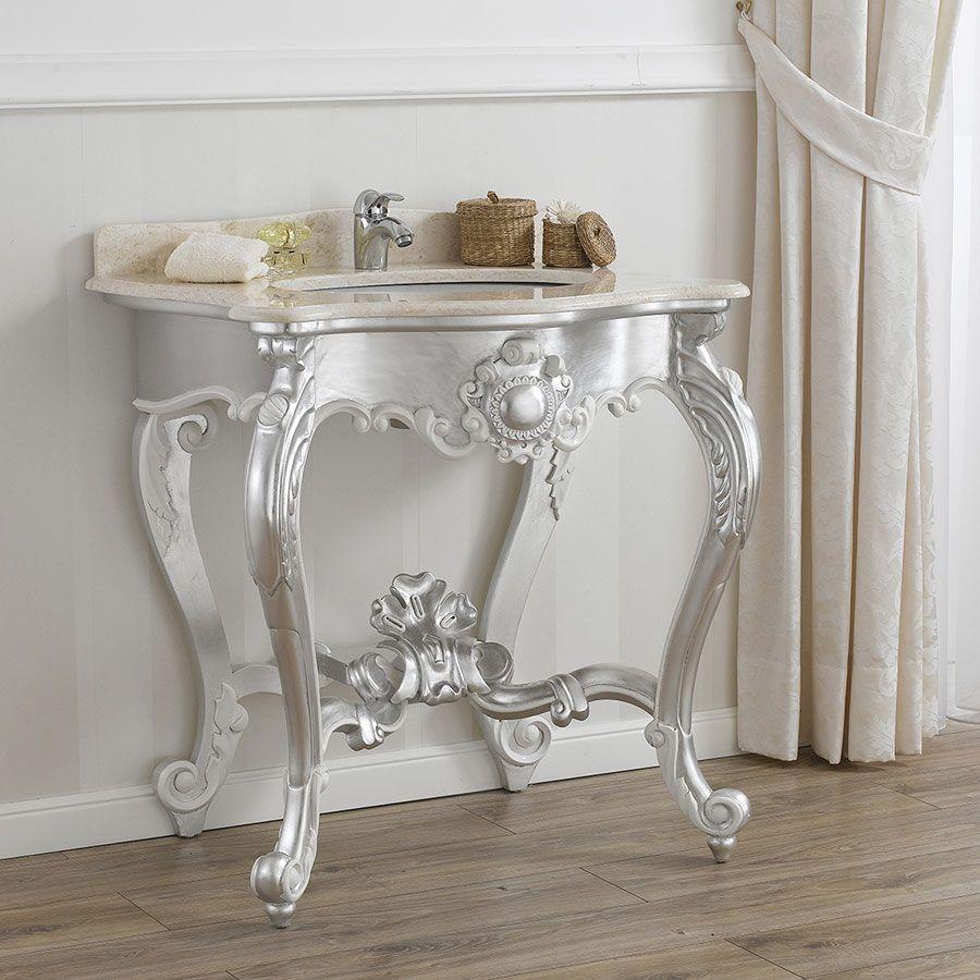 Consolle stile Barocco Moderno, foglia argento, particolari bianco ...
