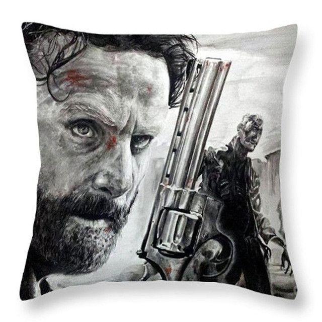 Colorful Plain Linen Cushion Covers The Walking Dead Pattern Cushion