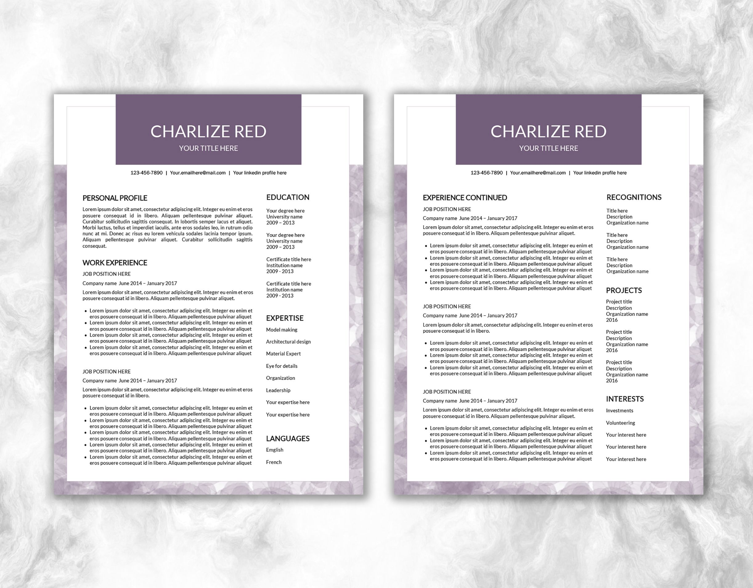 Resume Template Word | Personalized Design | One Page and Two Page ...